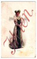 Early 1900s Helen in a Fur Coat and Green Dress Winter Postcard