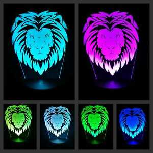 Nachtlicht 7 Farbe 3D Effekt LED Licht Löwe Leselampe Nachttischlampe Gift lion