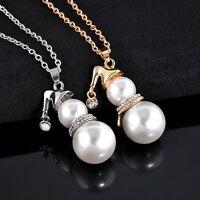 Women Elegant Long Sweater Necklace Cute Snowman White Pearl Pendant Jewelry