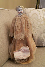 Early Antique 1870 Dolly Madison China Doll w Original Body Clothes Leather Arms