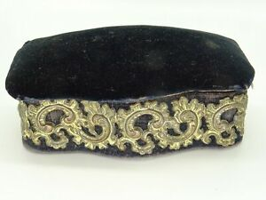 Victorian Oval Shaped Sewing PIN CUSHION Velvet Lid with Filigree Band c1890s