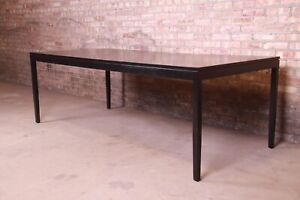 Florence Knoll Mid-Century Modern Black Lacquered Extension Dining Table