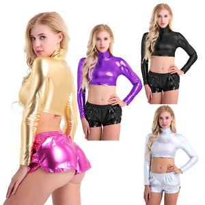 Women's Crop Top Metallic Wet Look Mock Neck Long Sleeve Tank Top Shirt Blouse
