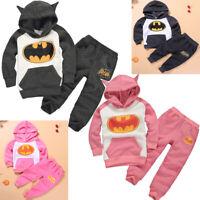 Baby Kid Boy Girl Batman Top+Pants Hoodie Sweatshirt Pullover Outfit Clothes Set