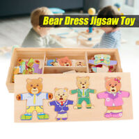 4 Bears Wooden Baby Bear Changing Clothes Puzzle Set Child Educational Toy