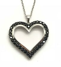 Sterling Silver 925 Black Onyx Pave Heart Love Anniversary Pendant Necklace 18''