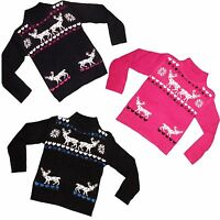 New Girls Jumper Tunic Knitted Sweater Christmas Cardigan Top Dress 2-12yrs #200