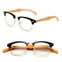 Bamboo Clear Lens Half Frame Vintage Glasses Thin Temple
