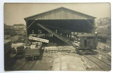 RPPC Postcard Railroad RR Crane loading gondola rail freight car tracks shed