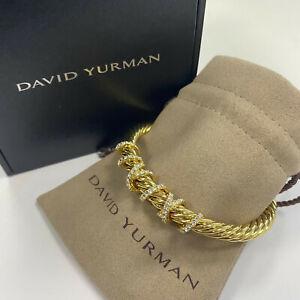 David Yurman Helena Center Station Bracelet in 18K Yellow Gold 7mm Size L