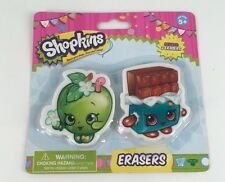 NEW, SHOPKINS ERASERS SET, APPLE BLOSSOM & CHEEKY CHOCOLATE