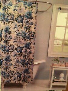 "Raymond Waites Blue Floral Shower Curtain 72"" X 72"" Atiu Ocean Blue Cotton NEW"
