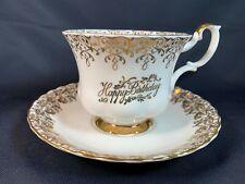 Royal Albert England HAPPY BIRTHDAY Gold - Bone China Tea Cup & Saucer- A8