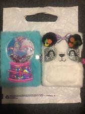 Claires Diary Notebook Lot Panda Llamacorn Furry Fuzzy Lock Key Snow Globe Donut