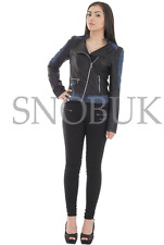Winter Jacket Women PU Leather Motorcycle Jackets Bomber Zip Biker Long Coat Black 6