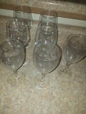 Set of  7  -  clear and etched Glass Stem  Wine Glasses.  .
