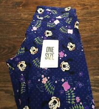 LuLaRoe Disney Collection, NEW; Leggings OS; Purple Blue Minnie Mouse Floral