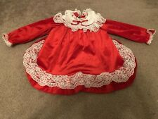 Girls Frilly Pagent Lace Velvet USA California Talk Christmas Holiday Dress 4T