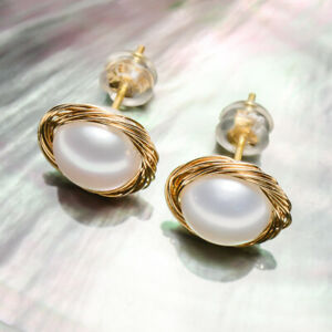 Handmade!Unique FW Pearl Stud Earrings 14K Yellow Gold Filled Wire#,Nest design