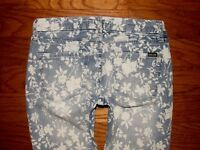 EC! DEAR JOHN Low Rise Roll Up Floral Skinny Ankle Crop Jeans Sz 25 W 27 x L 24