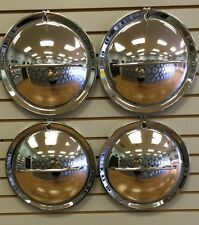 "14"" HOLLYWOOD FLIPPER MOON Custom Hot Rod Chrome Hubcaps Wheelcover SET"