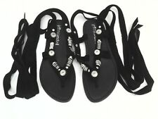JEFFREY CAMPBELL Sandals Strappy Black Flats Silver Rings Lace Up US 7.5 /38.5