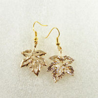 Handmade Golden Metal Mini Maple Leaf Charm Dangle Hooks Earrings Jewelry