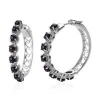 Hoops Hoop Earrings Round Black Onyx Gift Jewelry for Women Ct 4.86