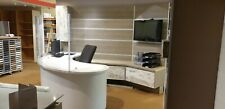 More details for reception or sales desk and storage with monitor / television wall panels/tops