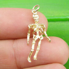 3D Moveable Skeleton Charm Pendant Genuine 375 9k 9ct Yellow Gold - C2073