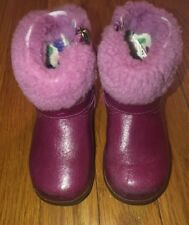 Ugg Australia Toddler Gemma Boots Bootie Victorian Pink Patent Leather Size 6