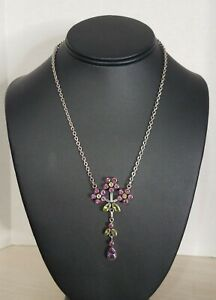 Nicky Butler Sterling Silver Multi-Gemstone Flower Floral Dangle Necklace AS-IS