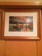 """Asian Inspired Framed Needlework Artwork Fishing Boat Landscape 25.5"""" x 20"""""""