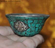 """2""""Old Tibet silver inlay Turquoise Auspicious Statue Tea cup Bowl"""