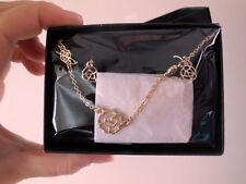 AVON 'SAQ' Gold Rose Design Necklace Earring Bracelet Set BNWB