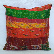"""Indian Vintage Patchwork Cushion Cover Silk Kantha Style Pillow Case 16""""x16"""""""