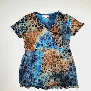 Koi Kathy Peterson Women's Scrub Top Size M Multicolor Poly-cotton