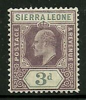 Album Treasures Sierra Leone  Scott # 69  3p Edward VII  Mint  Hinged