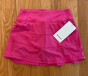 NWT Lululemon Pace Rival Mid Rise Skirt Tall Sonic Pink SNCP 2,6