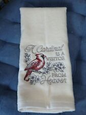 Embroidered Velour Hand Towel - Christmas - A Cardinal Is A Visitor From Heaven