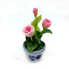Pink Rose Clay Flower Ceramic Pot Dollhouse Miniature Tiny Handmade
