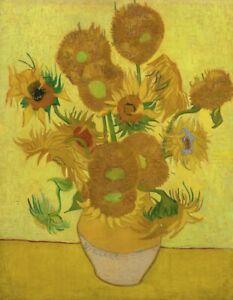 VINCENT VAN GOGH SUNFLOWERS yellow still life art print reproduction on canvas