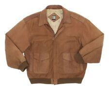 GREG BELL Leather Bomber Jacket L Large Mens Distressed A-2 Flight Jacket