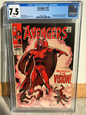 Marvel Silver Age Avengers #57 - CGC 7.5 White Pages - 1st Vision Key Issue
