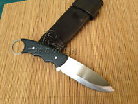 CUSTOM HANDMADE D2 STEEL TACTICAL FIGHTING KNIFE,SMART KNIFE WITH LEATHER SHEATH