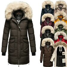 Marikoo Damen Steppmantel Outdoor Parka Winter Mantel Jacke Kunst-Pelz Chaskaa
