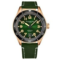 Stuhrling Men's Quartz Green Dial Luminous Hands Markers Green Leather Watch