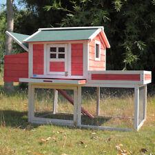 "Wooden Chicken Coop 65"" Hen House Rabbit Wood Hutch Poultry Cage Habitat Deluxe"