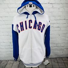 Chicago Cubs Genuine Merchandise Stitches Mens Hooded Jacket White Zip-Up NWT