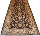 4 x 12 ft Handmade Chobi Peshawar Antiqued Chocolate Brown Vintage Look Rug